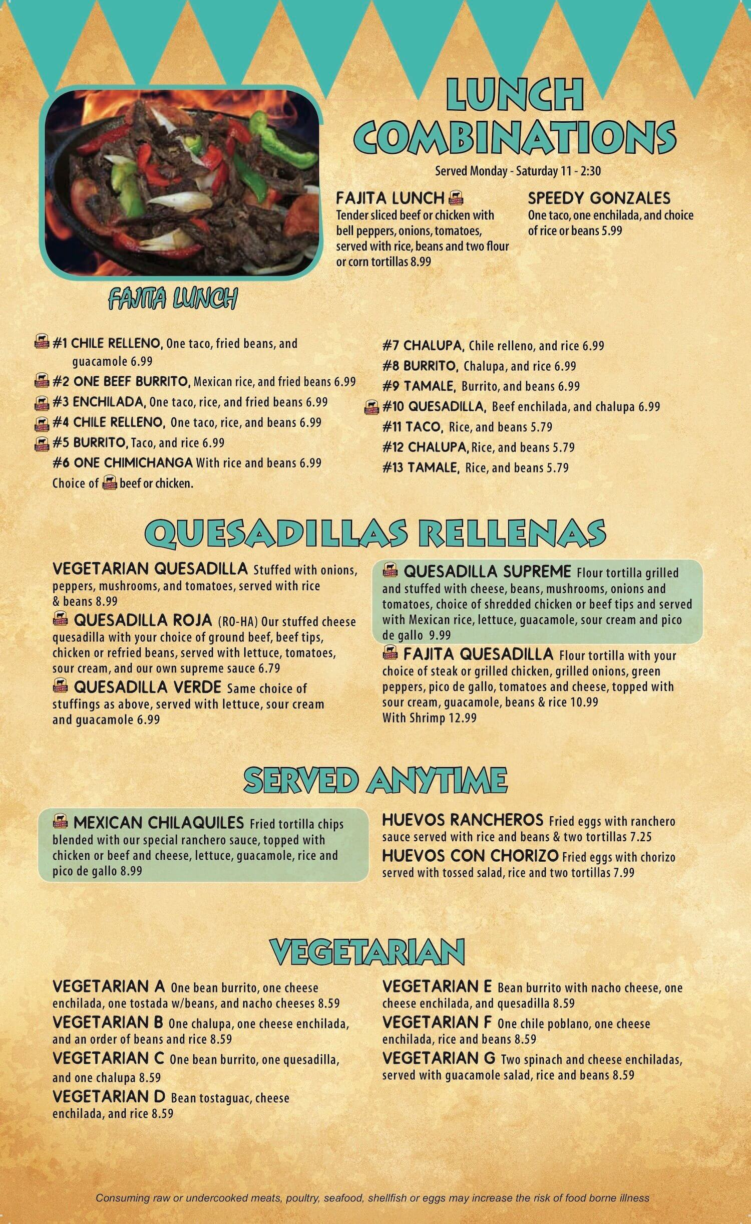La Campesina Mexican Restaurant Willard, Shelby Ohio Menu